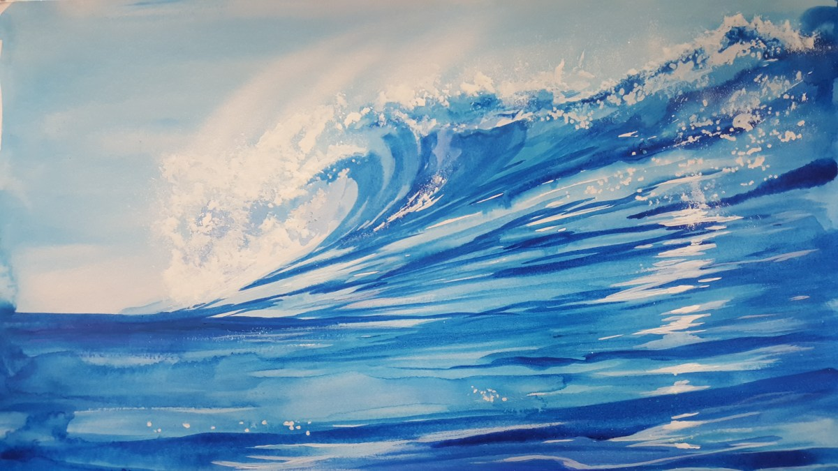 Watercolor magic:  How-to-Paint a killer wave